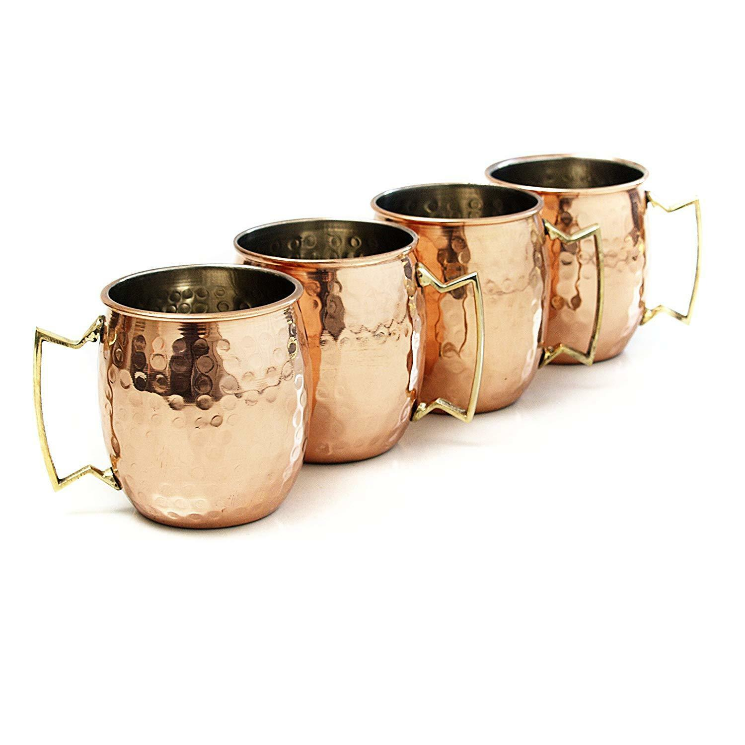 4 Hammered Moscow Mule Mug Drinking Cup 100% Pure Solid Copp