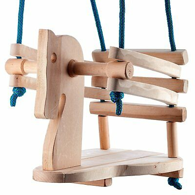 Toddler Wooden Swing - Cute Horse Figure Safety Seat - Natural Wood Swing For Or