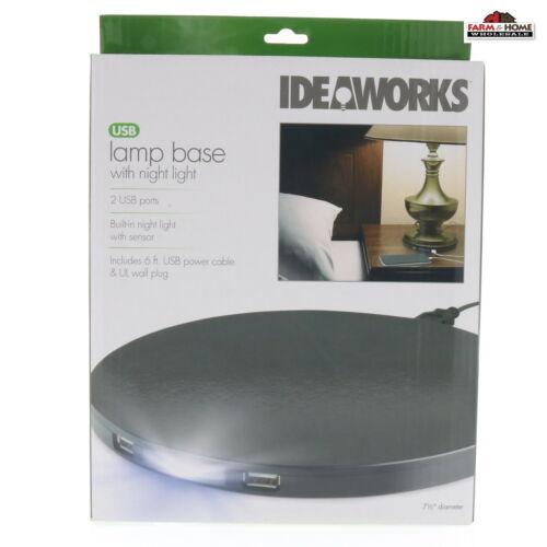 USB Plug In Lamp Base w/ Night Light ~ New