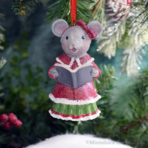 Lady Mouse Caroler Christmas Ornament Tree Decoration