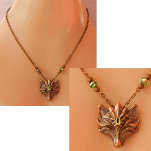 Wolf Necklace Gold Jewelry Handmade Green Fashion Chain Pendant Animal Women