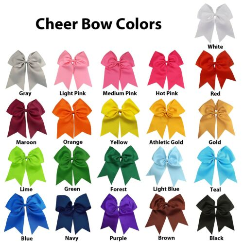 10 Pcs 7 Inch Jumbo Cheer Bows Ponytail Holder Cheerleading Girls Bow Hair Tie