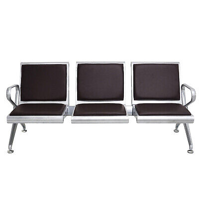 3-seat Bench Airport Office Reception Waiting Chair W Pu Leather Cushion