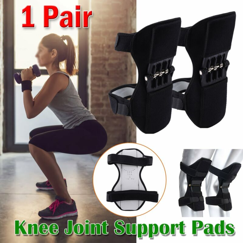 2Pc Knee Pads Booster Joint Support Brace Lift Squat Sport Power Spring Force US