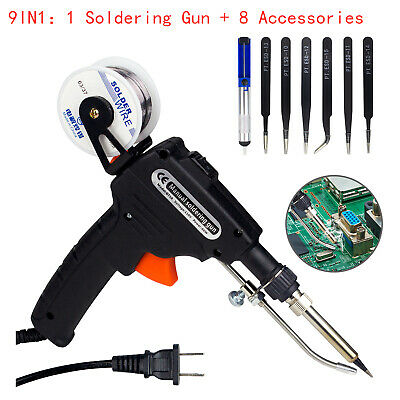 Auto Soldering Gun Kit 110v 60w With Welding Desoldering Pump Tin Wire6 Tweezes