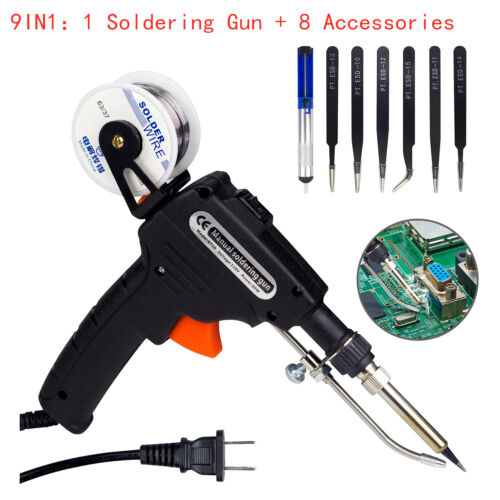 Auto Soldering Gun Kit 110V 60W with Welding Desoldering Pump Tin Wire&6 Tweezes