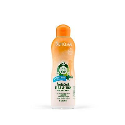 TropiClean Natural Flea and Tick Dog Shampoo Plus Soothe Irritated Skin 20 oz