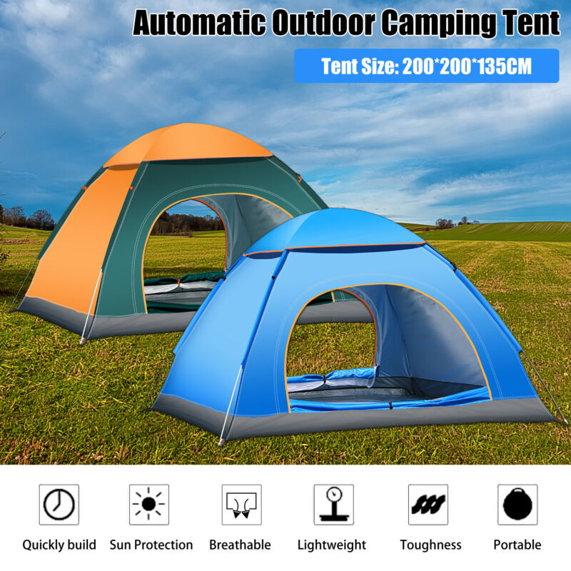 2-5 Person Instant Pop-Up Tent Waterproof Camping Outdoor Family Hiking Shelter