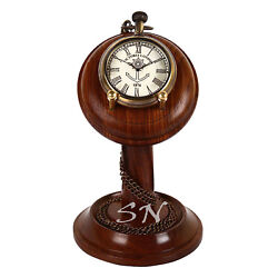 Pocket Watch With Chain & Wooden Stand Table Clock Victoria London Antique Look