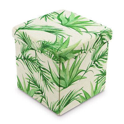 Areca Palm Polyester Folding Storage Ottoman Foot Rest Stool Palms Fabric Footstool