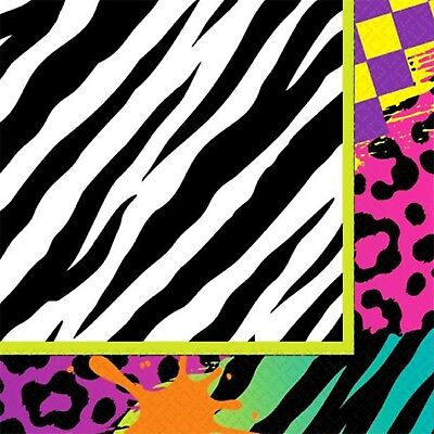 80's Decades Eighties Party Paper Tableware Decorations Neon Patterned Napkins - Eighties Party Decorations