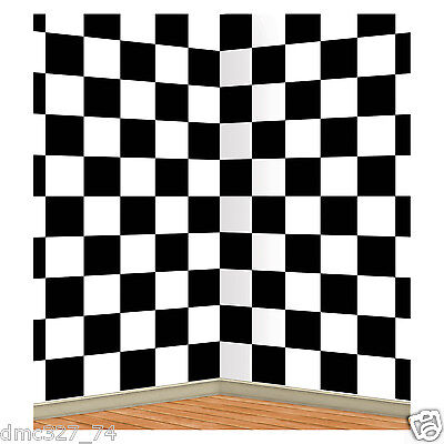 CHECKERED Black White Sock Hop 50s Alice In Wonderland Decoration WALL BACKDROP