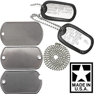 Custom Printed Dog Tags Personalized Military GI Army ID Dogtags Set Made In USA Custom Dog Print