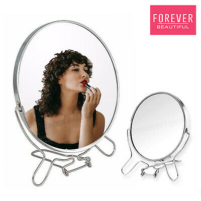 """4.8"""" STANDING MIRROR Small Round Double Two Sided Fold Away 3 x Magnification"""