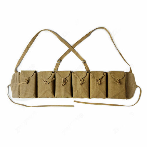 WWII Chinese Army ZB26 Combat Field Magazine Pouch 6 Cells Chest Rig Bag Canvas