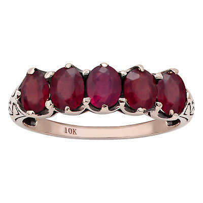 10k Rose Gold 2.40ct Genuine Oval Ruby Anniversary Band Ring