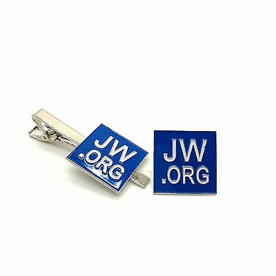 Perfect Present-Jw.org Gift Necktie Clip and Lapel Pin Set-Square -With JW.ORG