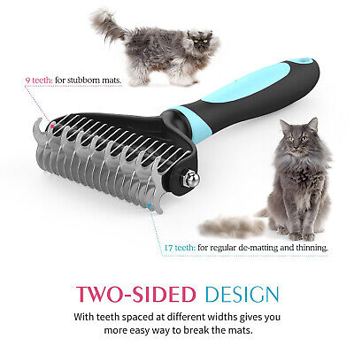 - Comb Dogs - Safe Dematting Pet Grooming Tools 2-Sided Undercoat Rake for Cats