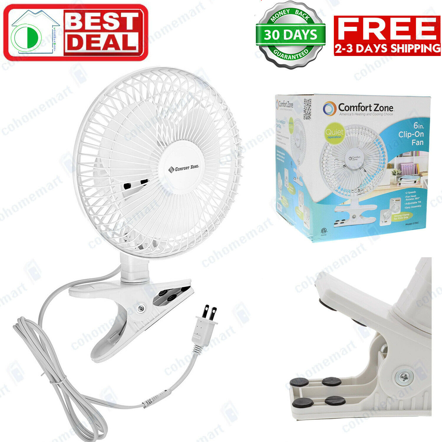 Clip On Small Personal Fan 2 Speed Portable Home Office Tabl
