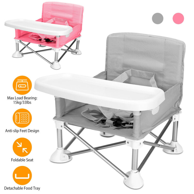 Travel Booster Seat with Tray for Baby Table Folding Camping Portable High Chair