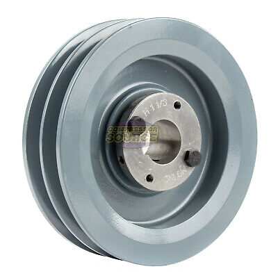 Cast Iron 6.25 2 Groove Dual Belt B Section 5l Pulley And 1-18 Sheave Bushing