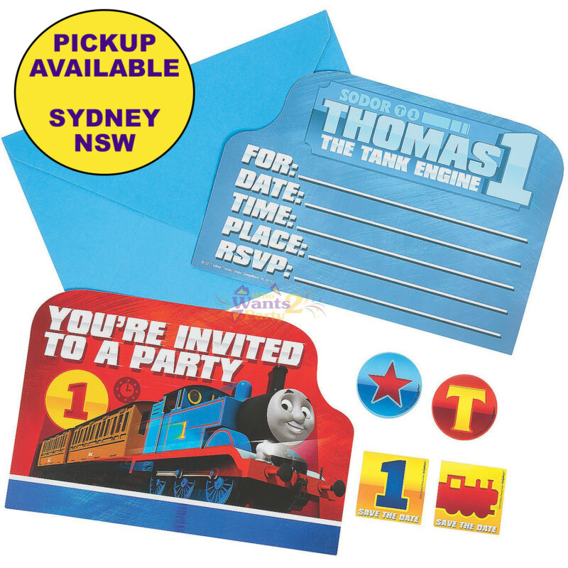 THOMAS THE TANK ENGINE PARTY SUPPLIES 8pk INVITATIONS STICKERS ...