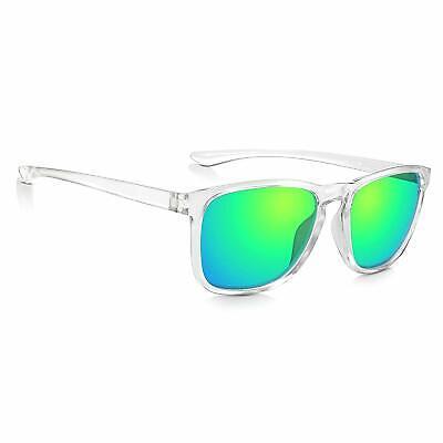 Sunglass Junkie Mens Crystal Clear Mirror Green Sports Frame Sunglasses RRP £39