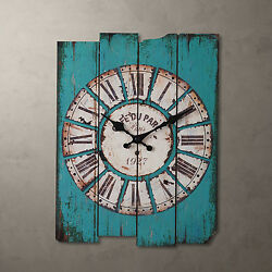 15 Antique Vintage Wooden Blue Clock Wall Country Large Art Home Decor