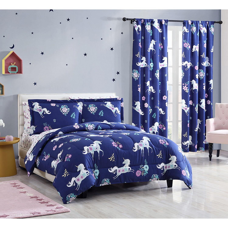 Twin Full Queen Unicorn Comforter Bedding Set Sheets, Window Curtains, Navy Blue Bedding