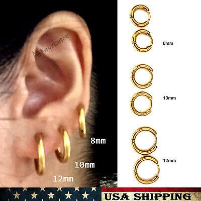 Gold (3Pairs) Mens Womens Stainless Steel Tube Hoop Ear Ring Stud Earrings