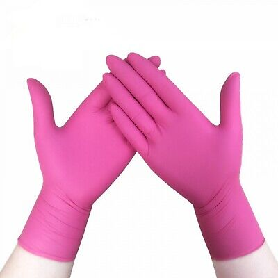 Nitrile Latex Pink Gloves Household Cleaning Gloves Household Tool New 100 Pcs