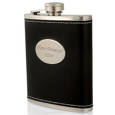 Engraved 7oz Black Leather Hip Flask Wedding Usher/Best Man Gift Personalised