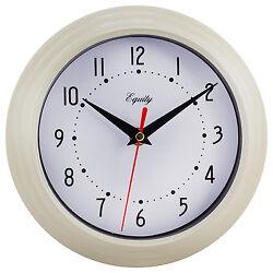 25015 Equity by La Crosse 8 Plastic Analog Wall Clock - Almond