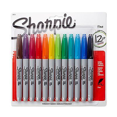 Sharpie Fine Point Permanent Markers 12pack Assorted Colors New