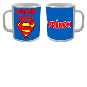 mug tasse super papa avec pr nom personnalis sp cial f te des p res superman ebay. Black Bedroom Furniture Sets. Home Design Ideas