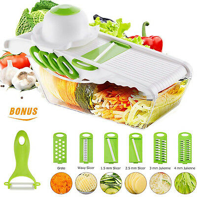 Vegetable Mandoline Slicer Food Cutter Grater Shredder 6 Blades Julienne