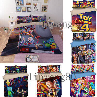 Premium Toy Story 4 Bedding Set Woody Buzz Lightyear Duvet Cover & Pillow Cases