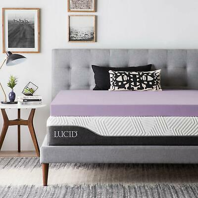 Contemporary Mattress - LUCID 2, 3, 4 Inch Lavender Memory Foam Mattress Topper - Twin Full Queen King