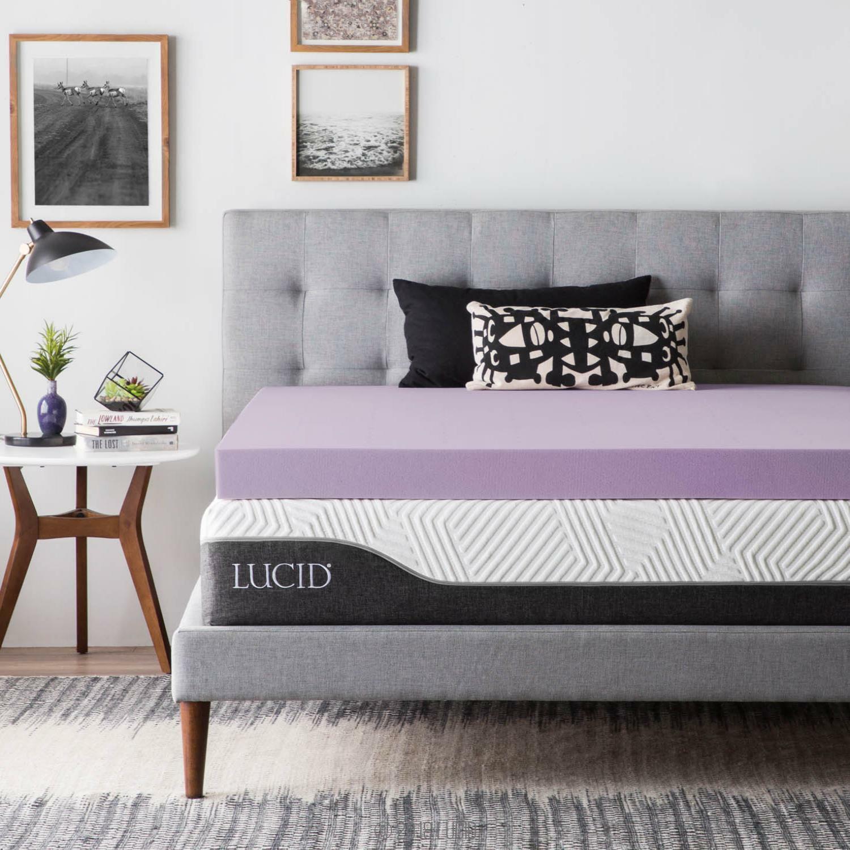 LUCID 2, 3, 4 Inch Lavender Memory Foam Mattress Topper - Tw