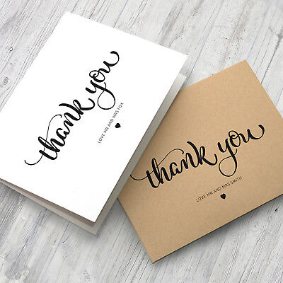 10 x Personalised Wedding Thank You Cards - Folded Format + Envelopes Pack (G15)