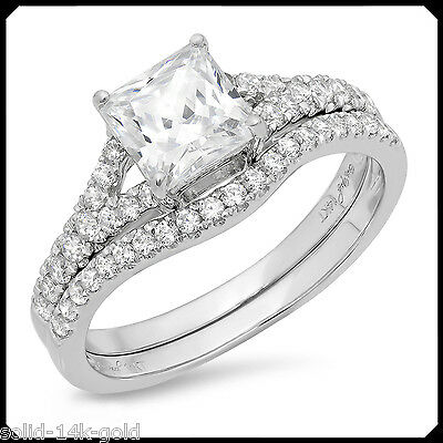 Sharon 2.05CT PRINCESS Diamond VVS1 Solid 14K White GOLD Engagement Wedding Ring