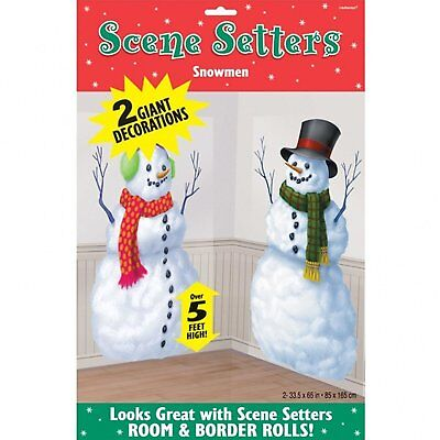 Christmas Snowmen Scene Setter Decorations x 2 Vinyl Scene Setter Wall Window