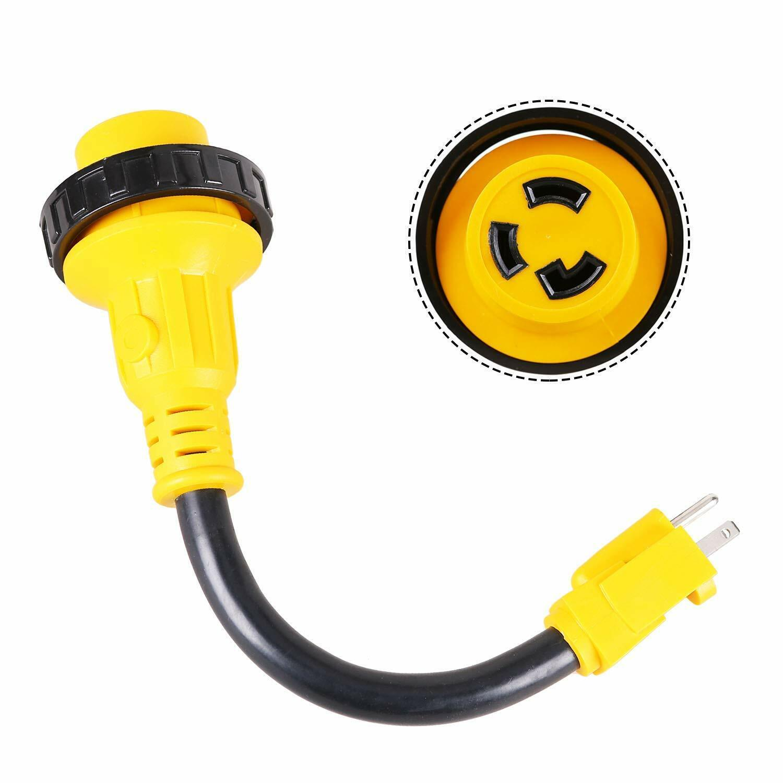 15 Amp Male to 30 Amp Female Locking RV Adapter Cord Dogbone Electrical Adapter eBay Motors