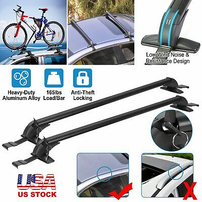 "Universal Car Top Roof Rack Cross Bar 43.3"" Luggage Carrie Adjustable Aluminum"