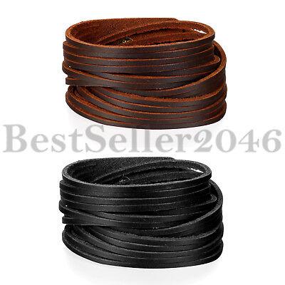 - Adjustable Punk Leather Wide Belt Wrap Wristband Bangle Cuff Biker Mens Bracelet
