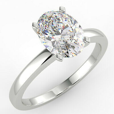 1.26 Ct Oval Cut VS1/F Solitaire Diamond Engagement Ring 14K White Gold