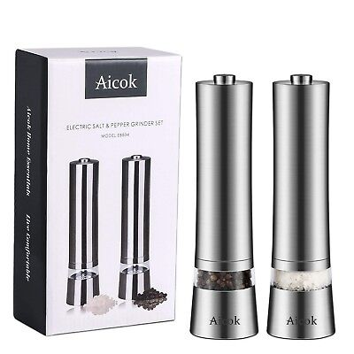 Aicok Stainless Steel Electronic Salt and Pepper Grinder (Pack of 2)