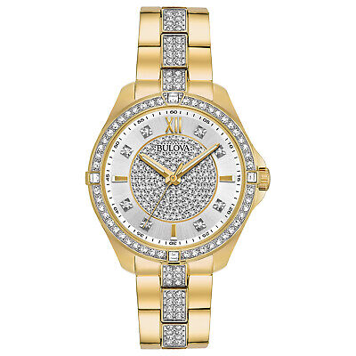 Bulova Women's Quartz Swarovski Crystal Accents Gold-Tone 35mm Watch 98L228