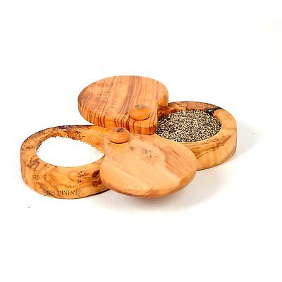 Double Salt Keeper, Handmade From Olive Wood 2 Compartment Salt -