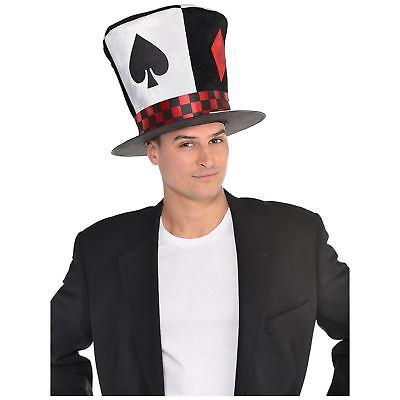 Erwachsene Herren Poker Ace Verrückter Hutmacher Wunderland Hut Kostüm Fantasie